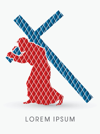 Silhouette, Jesus Christ carrying cross, designed using red and blue geometric shape, graphic vector
