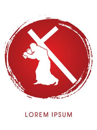 Silhouette, Jesus Christ carrying cross Illustration
