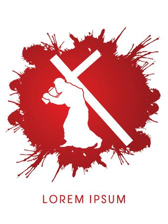 Silhouette, Jesus Christ carrying cross, on grunge splash blood background, graphic vector Stock Illustratie