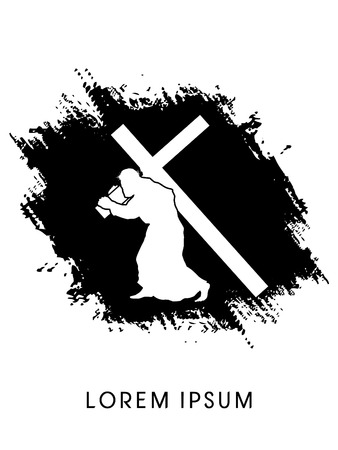 Silhouette, Jesus Christ carrying cross, on grunge background, graphic vector Stock Illustratie