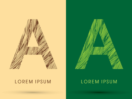 grass line: A, Font, concept line stroke , wood and leaf, grass, graphic vector.