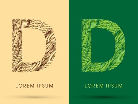 grass line: D, Font, concept line stroke , wood and leaf, grass, graphic vector. Illustration
