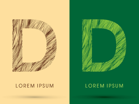 D, Font, concept line stroke , wood and leaf, grass, graphic vector. Illustration