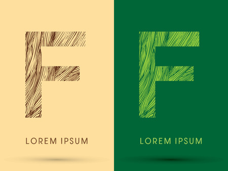 grass line: F, Font, concept line stroke , wood and leaf, grass, graphic vector.