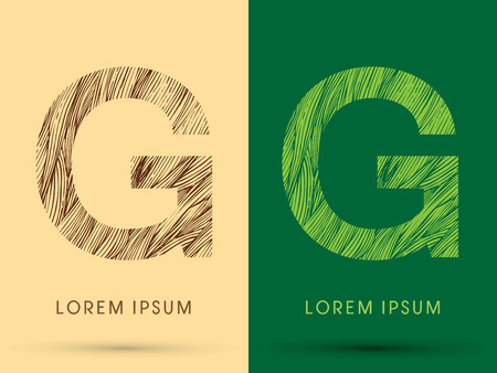 retro font: G, Font, concept line stroke , wood and leaf, grass, graphic vector.