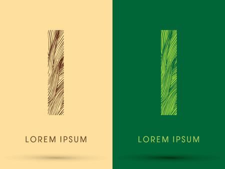 venation: I, Font, concept line stroke , wood and leaf, grass, graphic vector.