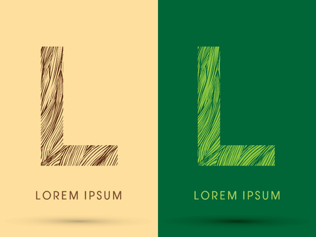 waver: L, Font, concept line stroke , wood and leaf, grass, graphic vector.
