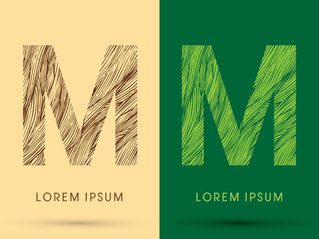 venation: M, Font, concept line stroke , wood and leaf, grass, graphic vector.