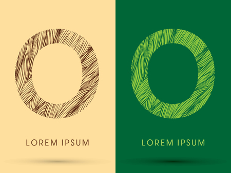 O, Font, concept line stroke , wood and leaf, grass, graphic vector.
