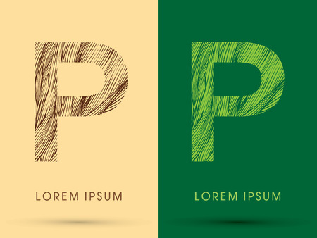 P, Font, concept line stroke , wood and leaf, grass, graphic vector.
