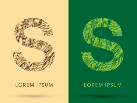 wood grass: S, Font, concept line stroke , wood and leaf, grass, graphic vector.