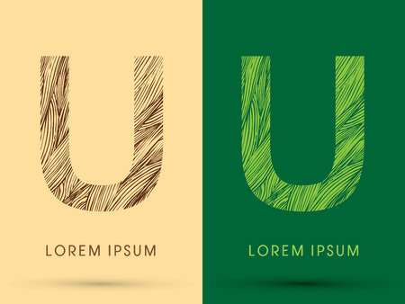 grass line: U, Font, concept line stroke , wood and leaf, grass, graphic vector.