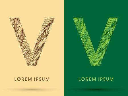 grass line: V, Font, concept line stroke , wood and leaf, grass, graphic vector.