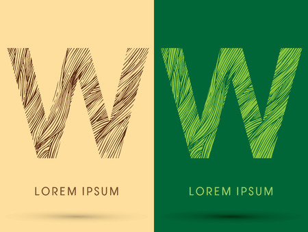 venation: W, Font, concept line stroke , wood and leaf, grass, graphic vector.