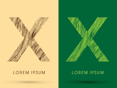 waver: X, Font, concept line stroke , wood and leaf, grass, graphic vector.