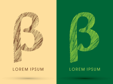 beta: Beta, Font, concept line stroke , wood and leaf, grass, graphic vector.