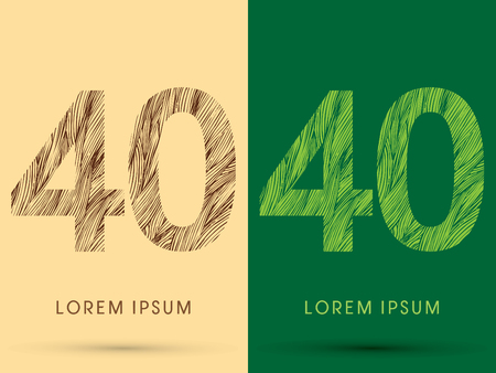 venation: 40, Font, concept line stroke , wood and leaf, grass, graphic vector.