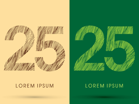 venation: 25, Font, concept line stroke , wood and leaf, grass, graphic vector.