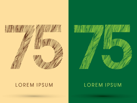 venation: 75, Font, concept line stroke , wood and leaf, grass, graphic vector.