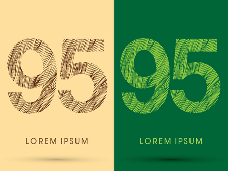 venation: 95, Font, concept line stroke , wood and leaf, grass, graphic vector.