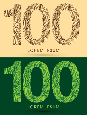 grass line: 100, Font, concept line stroke , wood and leaf, grass, graphic vector.