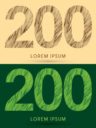 200, Font, concept line stroke , wood and leaf, grass, graphic vector. Illustration