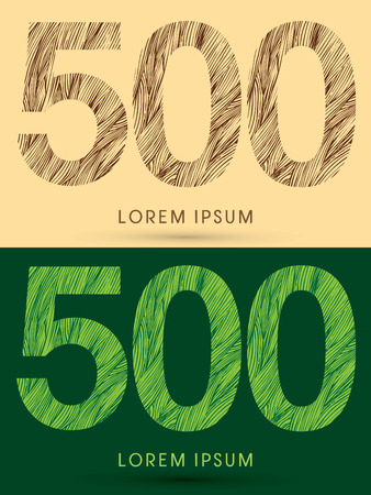 grass line: 500, Font, concept line stroke , wood and leaf, grass, graphic vector.