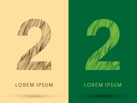 2, Font, concept line stroke , wood and leaf, grass, graphic vector. Illustration