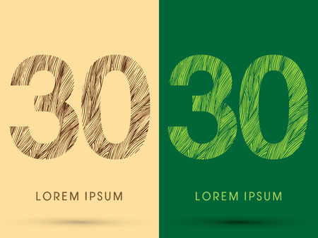 venation: 30, Font, concept line stroke , wood and leaf, grass, graphic vector. Illustration