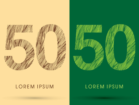 grass line: 50, Font, concept line stroke , wood and leaf, grass, graphic vector.