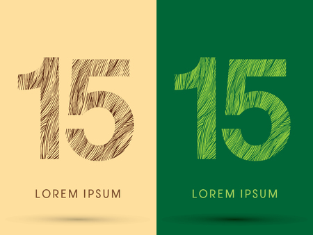 grass line: 15, Font, concept line stroke , wood and leaf, grass, graphic vector. Illustration