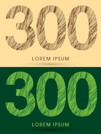 venation: 300, Font, concept line stroke , wood and leaf, grass, graphic vector.
