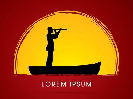 lens brush: Telescope looking on Boat Illustration