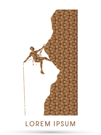thrill: Silhouette Man climbing on a cliff Illustration