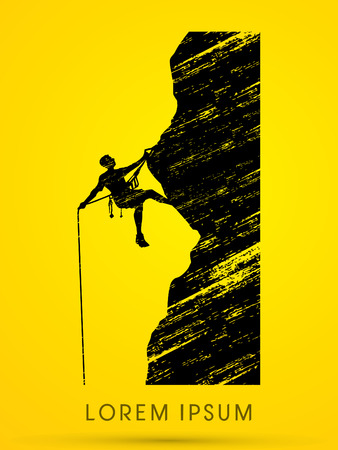 fearless: Silhouette Man climbing on a cliff Illustration