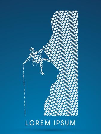 dangle: Silhouette Man climbing on a cliff Vettoriali