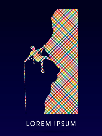 thrilling: Silhouette Man climbing on a cliff Illustration