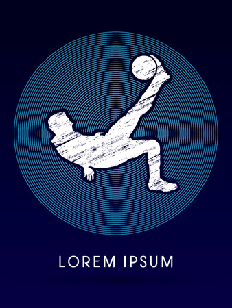 somersault: Soccer player hit the ball using Bicycle Kick Illustration