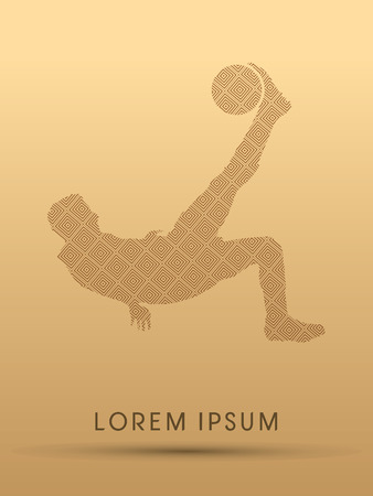 somersault: Soccer player hit the ball using Bicycle Kick, designed using line square pattern, graphic vector.