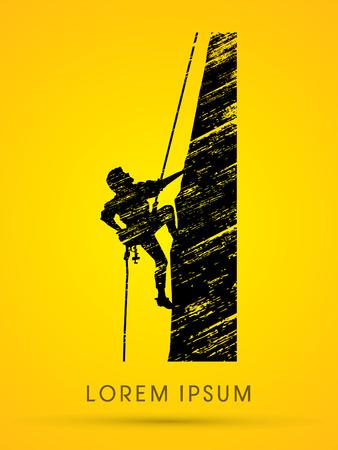 Silueta, Hombre que sube en un acantilado, montaña, diseñado usando cepillo del grunge, gráfico de vector.