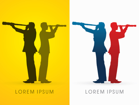 Silhouette businessman, looking telescope for planning marketing strategy  ,graphic vector. Illustration