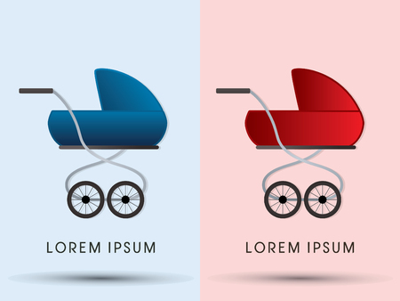 infantile: Baby carriage, graphic vector.