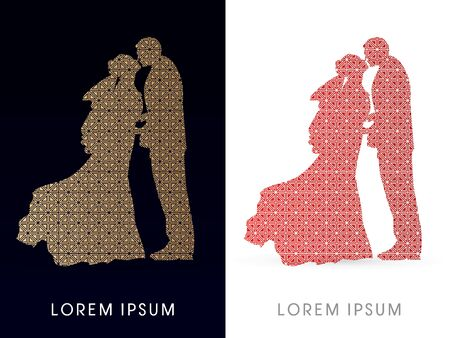 closeness: Silhouette, Wedding, designed using luxury square pattern, graphic vector.