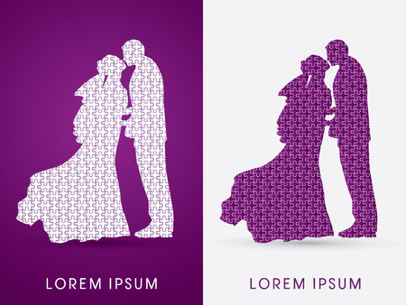 closeness: Silhouette, Wedding, designed using jigsaw pattern, graphic vector.