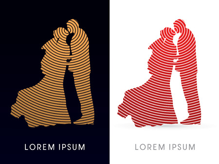 cycle suit: Silhouette, Wedding, designed using gold and red circle line, graphic vector.