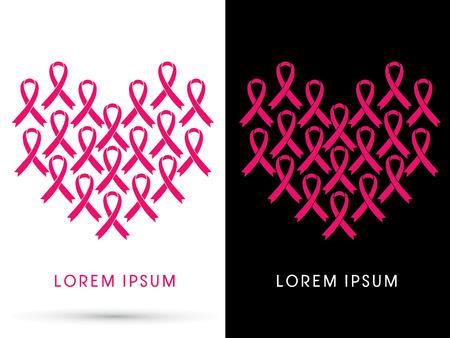 cancer de mama: conciencia del c�ncer de pecho, cinta rosada, en forma de coraz�n, gr�fico de vector Vectores