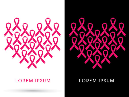 Breast cancer awareness, pink ribbon, in heart shape, graphic vector Stock Illustratie