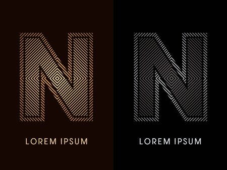 n: N ,abstract luxury font, Designed using gold and black line square, geometric shape, graphic vector.