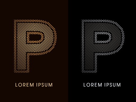 p buildings: P ,abstract luxury font, Designed using gold and black line square, geometric shape, graphic vector. Illustration