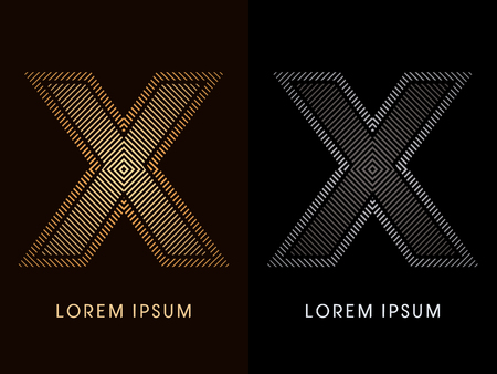 shape vector: X ,abstract luxury font, Designed using gold and black line square, geometric shape, graphic vector. Illustration